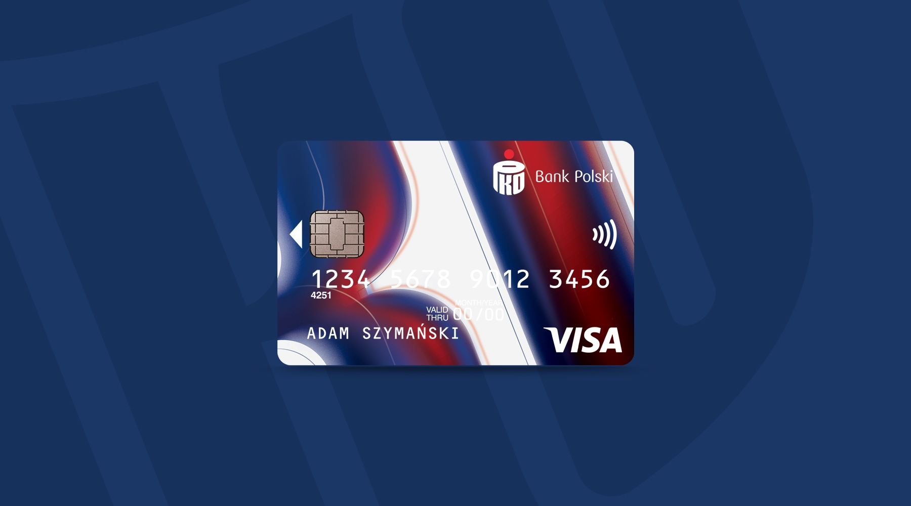 PKO Bank Polski navy blue and red card